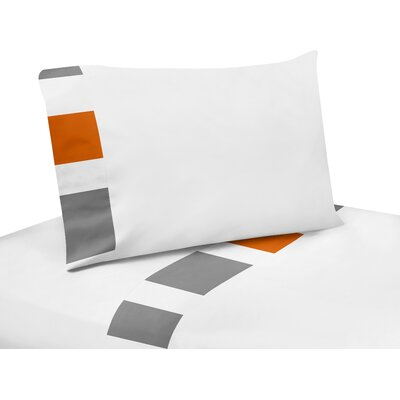 Stripe 200 Thread Count Sheet Set Size: Twin, Color: Gray/Orange