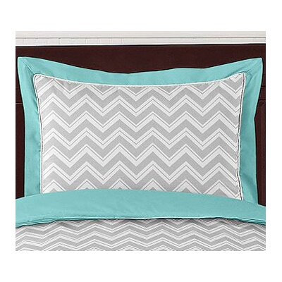 Zig Zag Pillow Sham Color: Grey and Turquoise
