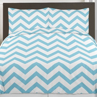 Chevron 4 Piece Twin Comforter Set Color: Turquoise