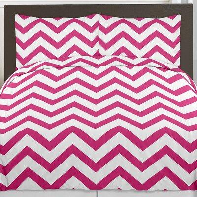 Chevron 3 Piece Comforter Set Size: Full/Queen, Color: Hot Pink