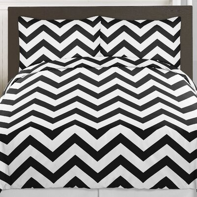 Chevron 3 Piece Comforter Set Size: Full/Queen, Color: Black