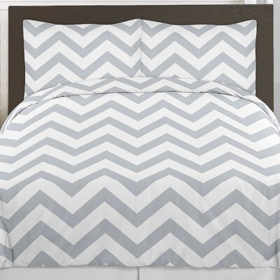Chevron 3 Piece Comforter Set Size: King, Color: Gray