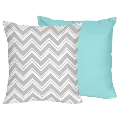 Zig Zag Cotton Throw Pillow Color: Grey / Turquoise