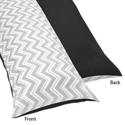 Zig Zag Body Pillow Case Color: Grey and Black