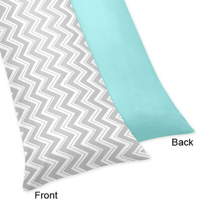 Zig Zag Body Pillow Case Color: Grey and Turquoise
