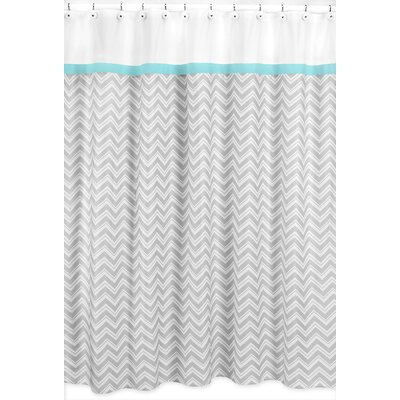 Zig Zag Cotton Shower Curtain Color: Grey and Turquoise