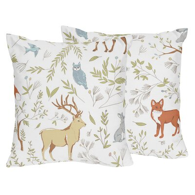 Woodland Toile Cotton Throw Pillow