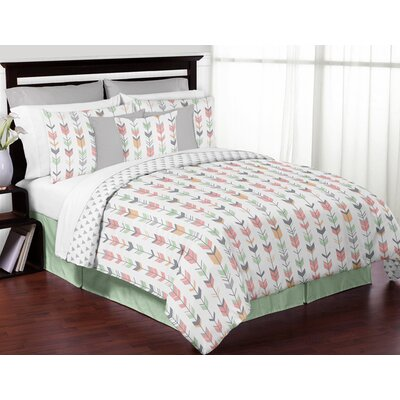 Mod Arrow Comforter Set Size: Full/Queen, Color: Gray/Coral/Mint