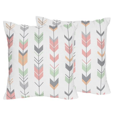Mod Arrow Throw Pillow Color: Gray/Coral/Mint