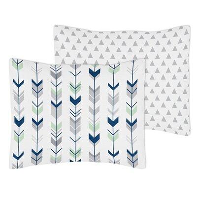 Mod Arrow Standard Pillow Sham Color: Gray/Navy/Mint