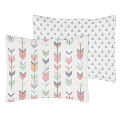 Mod Arrow Standard Pillow Sham Color: Gray/Coral/Mint