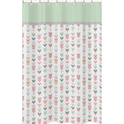 Mod Arrow Shower Curtain Color: Gray/Coral/Mint
