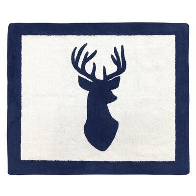 Woodland Deer Hand-Tufted Navy/White Area Rug