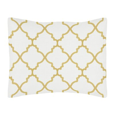Trellis Standard Pillow Sham Color: White/Gold