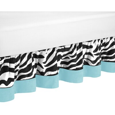 Zebra Queen Bed Skirt Color: Turquoise/Black/White