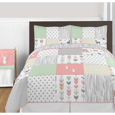 Woodsy Comforter Set Size: Full/Queen, Color: Coral