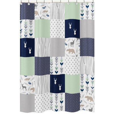 Woodsy Shower Curtain Color: Navy Blue