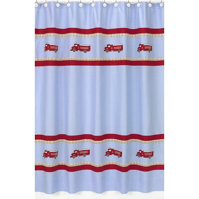 Frankies Firetruck Cotton Shower Curtain