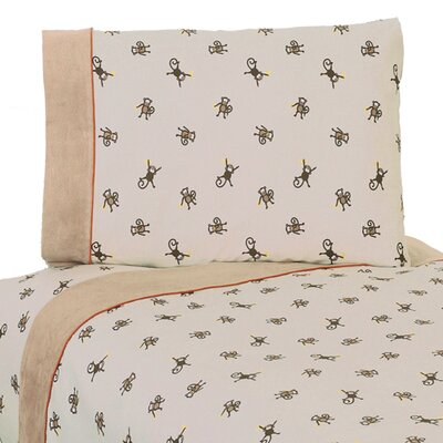 Monkey 4 Piece 100% Cotton Sheet Set Size: Queen