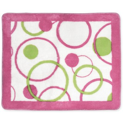 Circles Pink Floor Area Rug Rug Size: 26 x 3