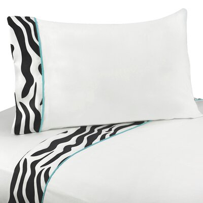 Zebra Sheet Set Size: Queen, Color: Turquoise