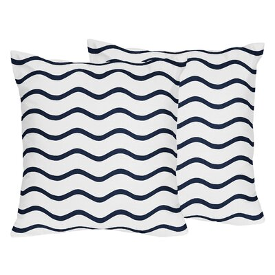 Whale Chevron Wave Cotton Throw Pillow