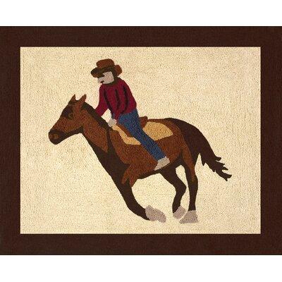 Wild West Cowboy Floor Brown/Beige Area Rug Rug Size: 26 x 3