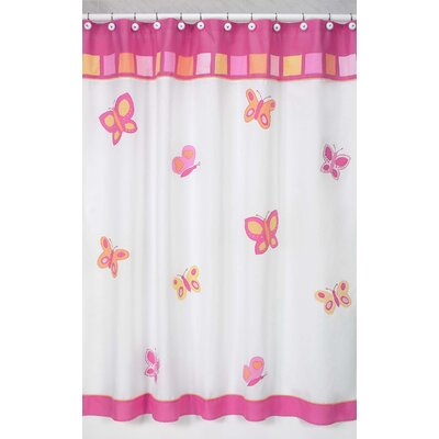 Butterfly Shower Curtain Color: Pink and Orange