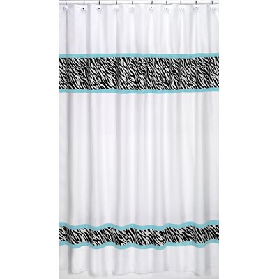 Funky Zebra Cotton Shower Curtain Color: Turquoise