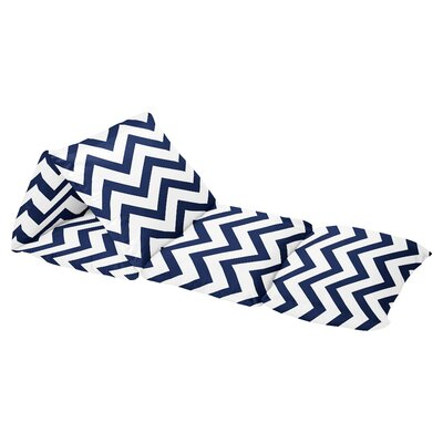 Chevron Floor Pillow Lounger Cover Color: Navy Blue/White