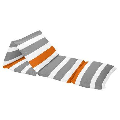 Stripe Floor Pillow Lounger Cover Color: Dark Gray/Orange/White