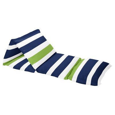 Stripe Floor Pillow Lounger Cover Color: Lime Green/Navy Blue/Crisp White