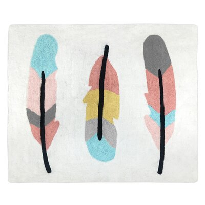 Feather Hand Tufted Cotton Turquoise/Coral/Gray Area Rug
