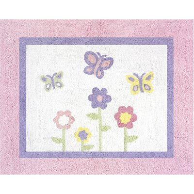 Butterfly Floor Pink & Purple Area Rug Rug Size: 26 x 3