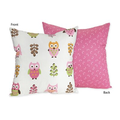 Happy Owl Cotton Throw Pillow