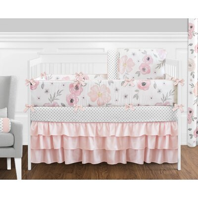 Floral 9 Piece Crib Bedding Set WatercolorFloral-PK-GY-9