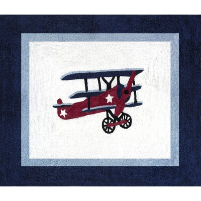 Vintage Aviator Blue/White Outdoor Area Rug Rug Size: 26 x 3