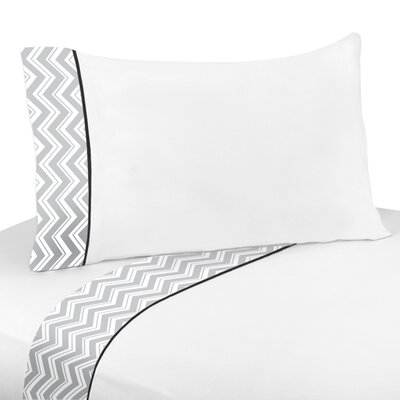 Zig Zag 3 Piece 100% Cotton Sheet Set Size: Queen, Color: Grey and Black