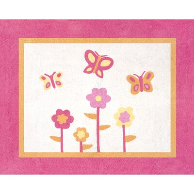 Butterfly Floor Pink/Orange Area Rug Rug Size: 26 x 3