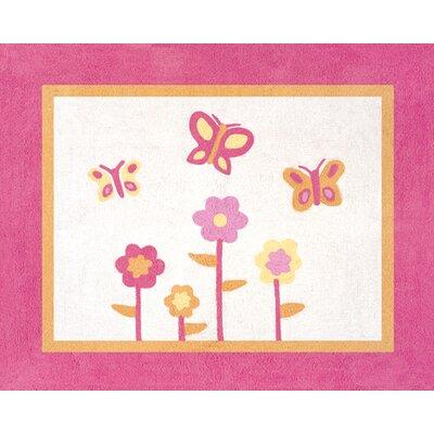 Butterfly Floor Pink/Orange Area Rug Rug Size: 26 x 3