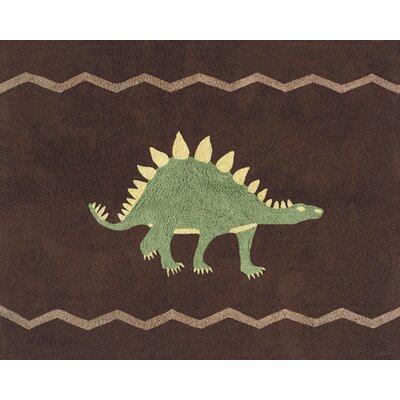 Dinosaur Land Brown Area Rug Rug Size: 26 x 3