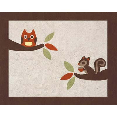 Forest Friends Brown/Beige Area Rug Rug Size: 26 x 3