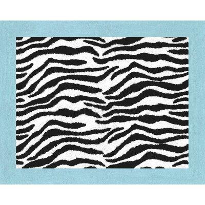 Zebra Floor Turquoise Area Rug Rug Size: 26 x 3