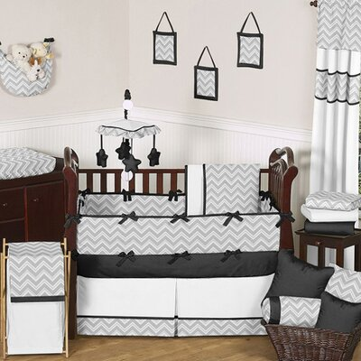 Black and Gray Zig Zag Crib Bedding Collection
