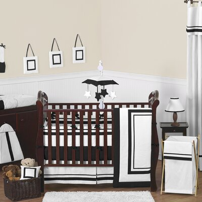 White and Black Hotel Crib Bedding Collection