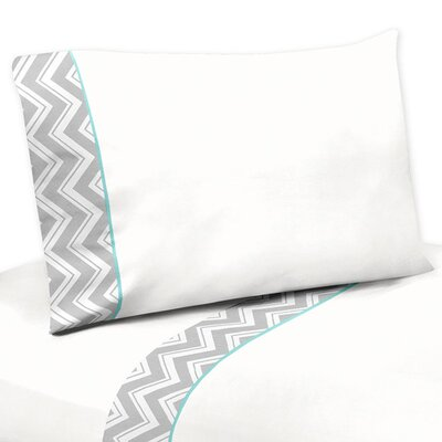 Zig Zag 3 Piece 100% Cotton Sheet Set Size: Queen, Color: Grey and Turquoise