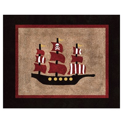 Pirate Treasure Cove Black/Brown Floor Area Rug Rug Size: 26 x 3