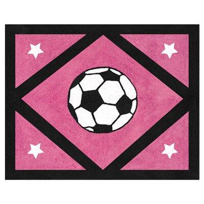 Soccer Pink Area Rug Rug Size: 26 x 3