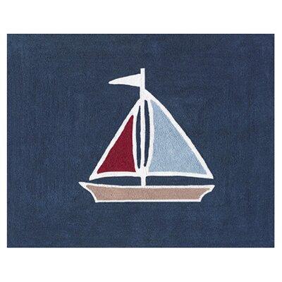 Nautical Nights Floor Blue Area Rug Rug Size: 26 x 3