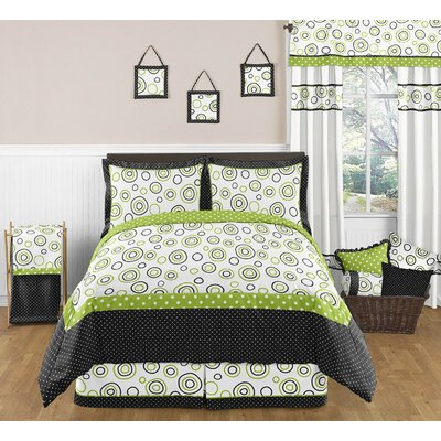 Spirodot Lime and Black Full/Queen Bedding Collection